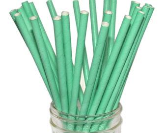 Paper Straw, Solid Teal, Aqua Straws