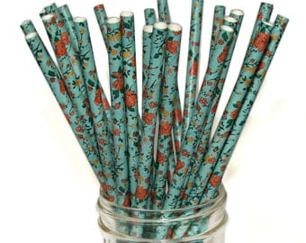 Floral Pattern Paper Straws, 100 Pack, beve-designed Antique Blue Floral