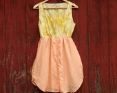 Orange and yellow floral Upcycled Dress Size Small/Medium Alternative bridesmaid dress