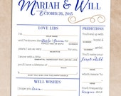 Elegant Guest Book Wedding Reception Game / Rehearsal Dinner Activity [Printable Love Libs, Predictions, Wishes, & Advice Card]