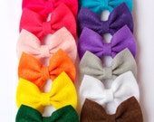 Mini Felt Bow - 15 Color Options - Red, Pink, Orange, Yellow, Green, Blue, Purple, White, Black, Gray