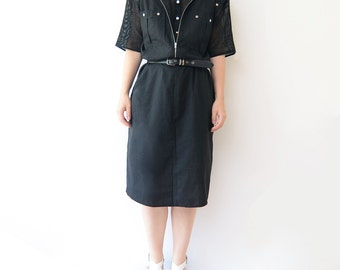 Vintage black 80s midi dress with net sleeves