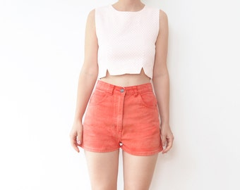 Vintage red high waist women jeans shorts / 80s denim