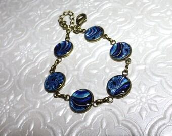 Blue Swirl Fractal Fantasy Marble Bracelet