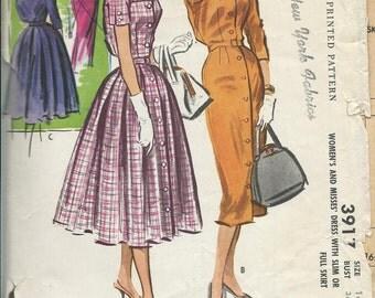 McCall's 3917 1950's Misses Shirt Dress Pattern,Slim or Full Skirt Option,  Size 16, Bust 36