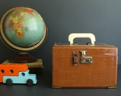 Vintage Camel Brown Faux Leather Train Case Makeup Travel Luggage