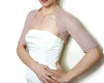 Dusty Pink Wedding Bolero Shrug cotton lace crochet bolero jacket