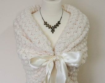 Ivory Bridal Shawl, Wedding Wrap, Bridal Cover Up, Wedding Bolero Shrug, Crochet Shawl, Ivory Capelet, Bridal Cape, Bridesmaid Shawl