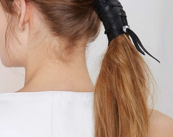 JAKIMAC All Tied Up Leather Pony Tail Wrap / Leather Hair Wrap with Bead and Lace