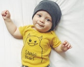 Savage Beast Onesie - Organic One piece - Baby Shower - Mustard, Natural White - Baby bodysuit
