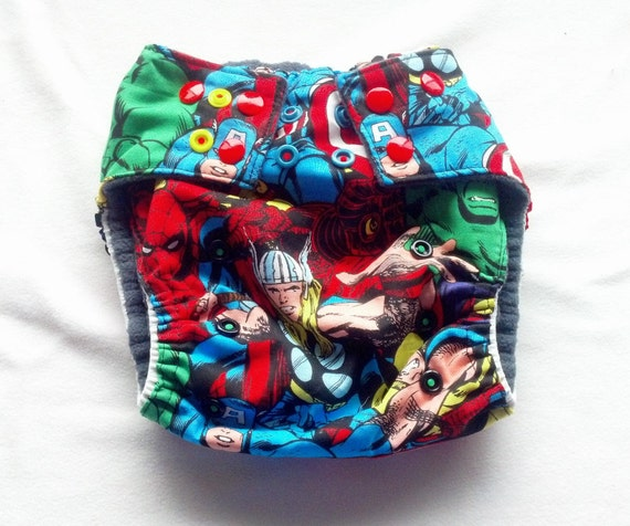 Marvel Comics One-Size Pocket Cloth Diaper or Cover Avengers Captain America Thor Iron Man Hulk Spiderman Wolverine