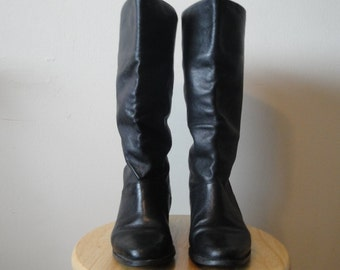 Vintage Black Leather Riding Boots Size 6.5 Medium
