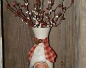 Handpainted Vintage Bottle-Gingerbread Man & Pip Berries-Primitive Christmas Decor