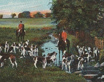 Old Candlestick - Antique 1910s Fox Hunt Horses, Riders and Hounds Chromolith Photo Postcard