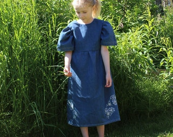 Girl's Embroidered Denim Short-sleeved Dress, Child's Size 5