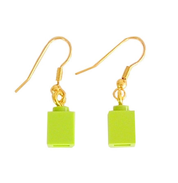 Light Green LEGO (R) brick 1x1 on a Silver/Gold plated dangle (hook)