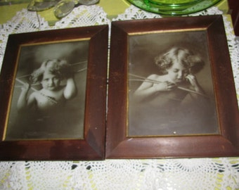 SALE Cupid Awake Cupid Asleep Prints in Frames Antique 1897 M B Parkinson Free USA Shipping, Insurance and Tracking Included