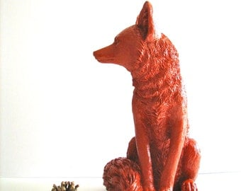 SUNSET ORANGE Large Fox Animal Statue in rust woodland cabin nursery kids room office gift for her him table top statue decor