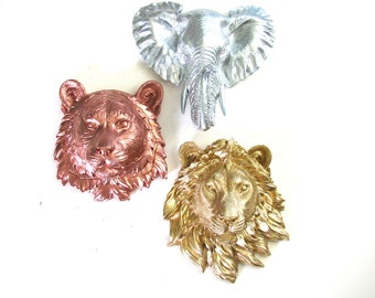 Set of 3 ANY Color/Color Combination Small Faux Taxidermy Animal head wall mounts:  Choose from the 6 wolf bear lion tiger zebra or elephant