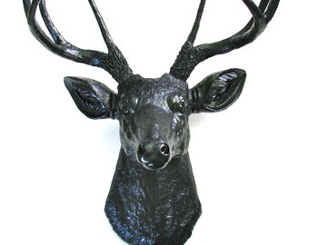 ALL BLACK Faux Taxidermy Deer Head wall mount faux animal head wall hanging stag head wall mount office decor  black deer head