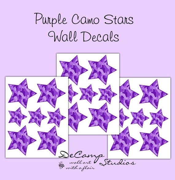 Camo Nursery Wall Decor : Purple camo star wall decals teen girl camouflage bedroom