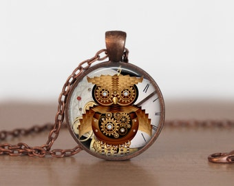 Owl Steampunk Necklace, Steampunk Jewelry