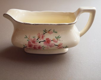Art Deco  Lido W S George gravy boat Peach Blossom pattern made in USA pink floral silver trim vintage kitchen vintage table vintage serving