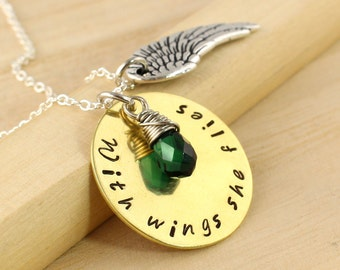 """Inspirational """"With Wings She Flies"""" Hand Stamped Nugold Necklace Green Quartz Personalized Graduation"""
