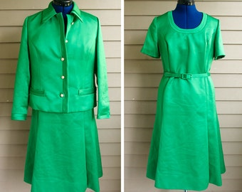 Vintage, Designer 1960s Green Satin Suit - Size XL - By Dorothy Stead, Georgetown