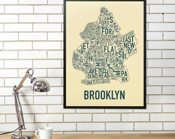 Brooklyn Neighborhood Map Poster, Brooklyn New York Neighborhood Typography City Map Print, Brooklyn Type Map Artwork