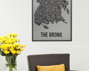 Bronx, New York Neighborhood Map Poster or Print, Original Artist of Type City Neighborhood Map Designs, Typography Map Art