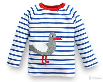 kids organic striped shirt blue and white, appliqué seagull, 100% organic cotton
