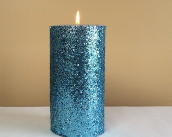 Light Blue Glitter Pillar Candle - Wedding Reception Decor - 4, 6, 9 inch
