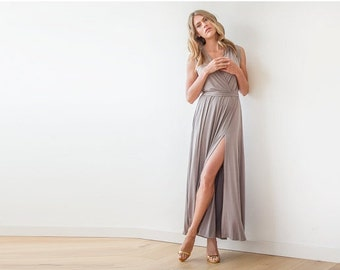 Taupe wrap dress, Dress with wide skirt , Taupe sleeveless gown 1058