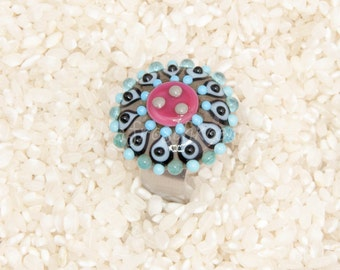 Handmade lampwork ringtop cabochon for changeable ring