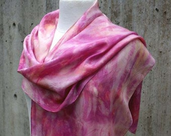 Eco Print Scarf. Cochineal. Eucalyptus Print. Long Silk Scarf. Eco Friendly Shawl. Hand rolled edge.