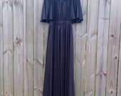 L Large Vintage 70s Black Flutter Sleeve Empire Waist Gothic Grunge Grecian Goddess Indie Hipster Alternative Maxi Dress LBD