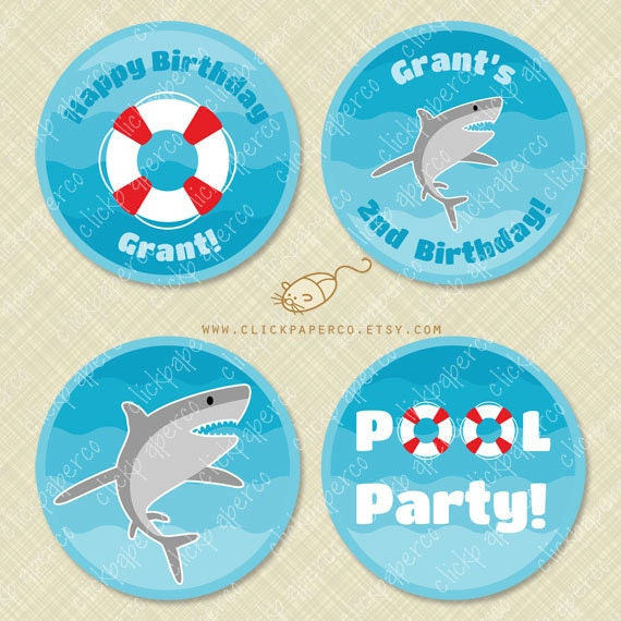 Shark Pool Party Custom Cupcake Toppers Printable Circle Tags
