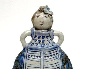 Ceramic Sculpture ,  Blue And White Ceramics ,Woman ,  BlueMagpieDesign , Girl's Room Decor ,Figurine