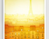 Morning hope (vertical) - Paris illustration Art illustration Giclee Art print Home decor Architecture City print Paris cityscape Yellow art
