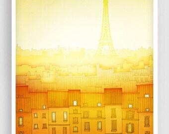 Morning hope (vertical) - Paris illustration Art illustration Giclee Art print Home decor Architecture City print Paris cityscape Yellow art