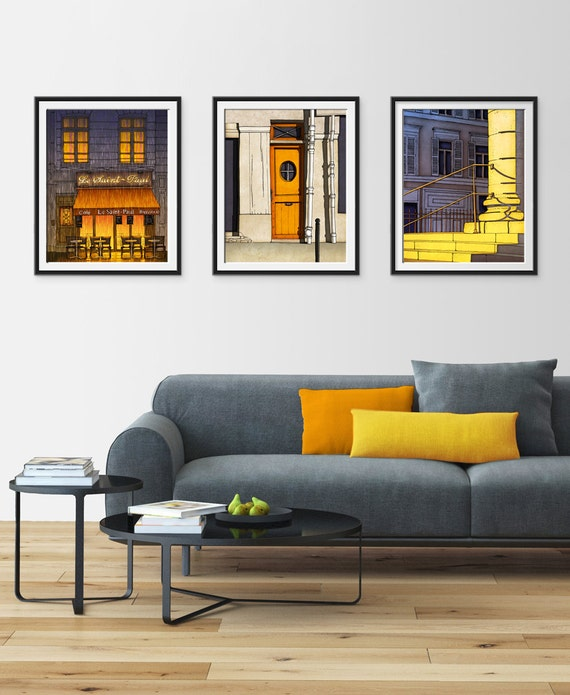 Any THREE Prints - Save 25%,Set of three Illustrations,Paris Art Print Poster Home decor Wall art Mixed media illustration Architecture