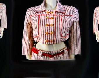 Vintage Cori Brazil Jacket Hip Hugger Pants Outfit Wooden Buttons New Old Stock pants outfit red & white outfit vintage pants vintage jacket