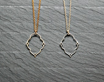 Diamond necklace, shiny silver diamond, matte gold diamond, moroccan, nimbus, star, geometric, gift for her, simple, layering necklace, souk