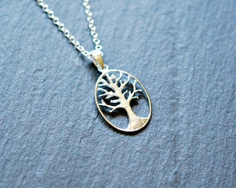 Tree of life necklace, sterling silver tree pendant, family tree, engagement, gift for mom, symbolic, strength, simple jewelry - wonder2