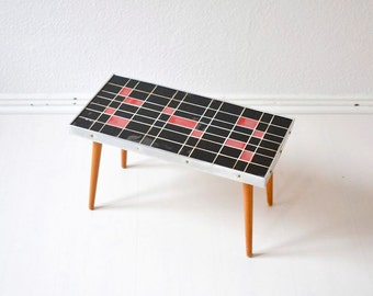 Vintage flower table kidney table coffee table mosaic flower bench Mid-Century Modern 60s GDR Eastern Germany