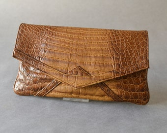 Vintage vegan crocodile clutch croco hand bag party fashion accessories 80s