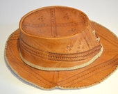 Vintage Tooled Leather Cowboy Hat, Womens Sun Hat, Intricate Detailing