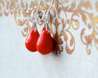 Red Beaded Earrings, Red Dangle Earrings, Small Drop Earrings, Bright Red Jewelry, Red Teardrop Earrings, Glass Bead Earrings, UK Seller