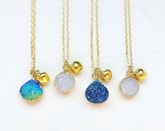 Druzy Necklace, Iridescent Blue Iris/White Agate Druzy with Gold Electroplated Gemstone Necklace, Gold Jingle Clapper Bell, Gold Brass chain
